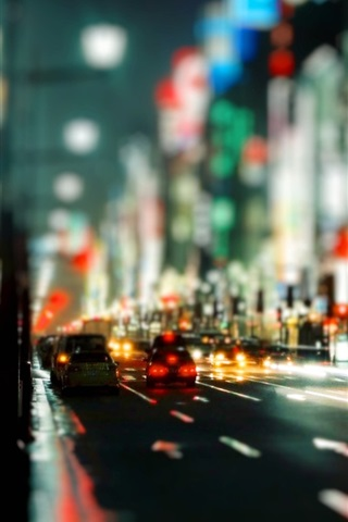 iPhone 배경 화면 도시 야간 시내 도로 차량
