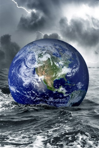 iPhone Wallpaper Earth in water at darkness