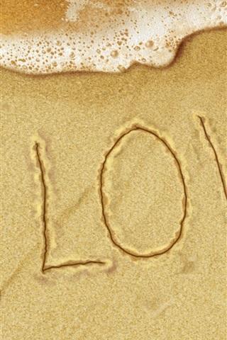 iPhone 배경 화면 해변에서 사랑의 문자
