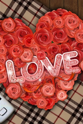 iPhone 배경 화면 사랑의 편지 장미와 커피