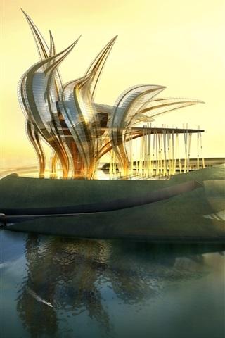 iPhone 배경 화면 인공 섬의 미래