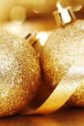 iPhone 배경 화면 두 개의 황금 크리스마스 공