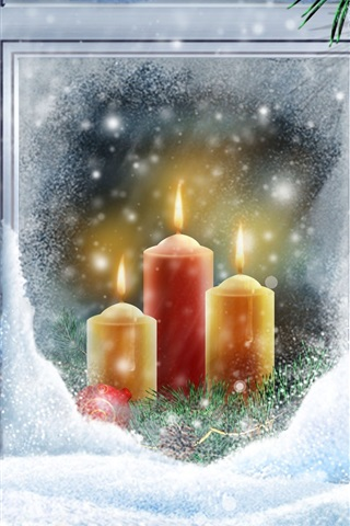iPhone Wallpaper Warm candlelight Christmas snow