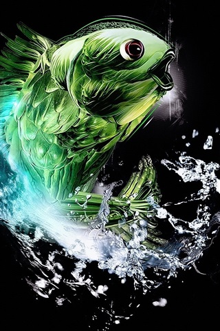 iPhone 배경 화면 초록 초록 물고기