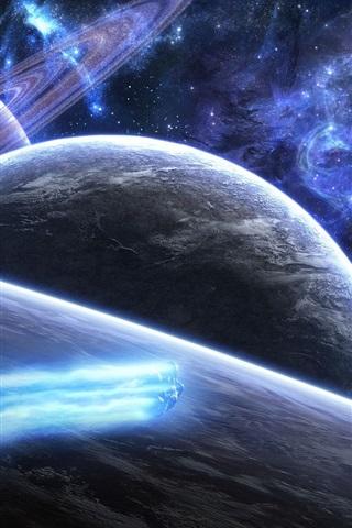 iPhone 배경 화면 우주에서 푸른 혜성