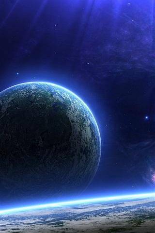 iPhone Обои Голубая планета на горизонте
