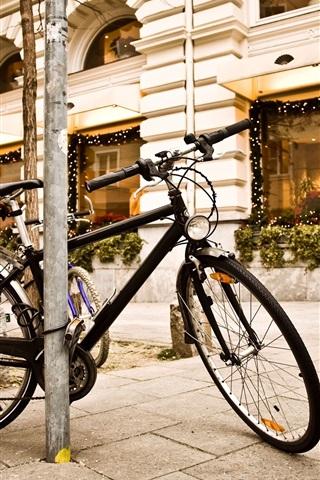 iPhone Обои Город уличный свет велосипеда