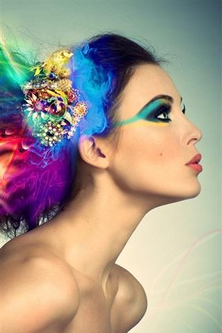 iPhone Wallpaper Colorful hair creative design