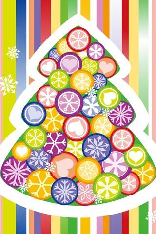 iPhone 배경 화면 다채로운 벡터 크리스마스 트리