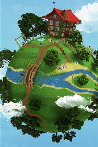 iPhone 배경 화면 지구 마을의 크리에이 티브 디자인