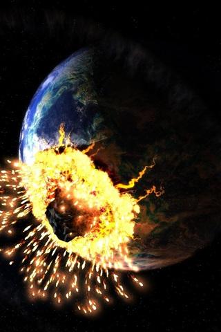 iPhone 배경 화면 무너지는 지구 소행성