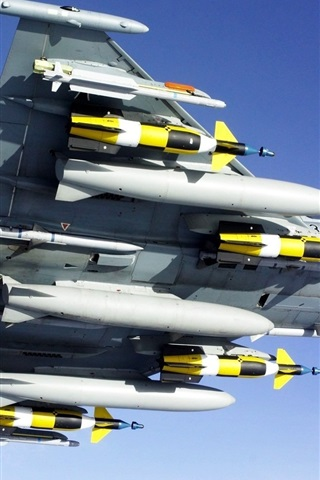 iPhone Wallpaper Fighter aircraft armed with missiles bottom view