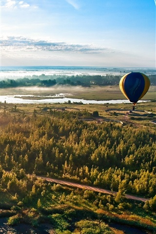 iPhone Wallpaper Forest road sky balloon