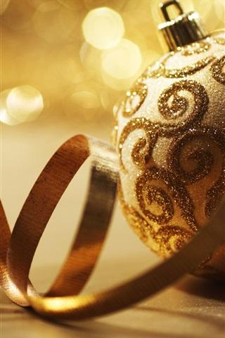 iPhone 배경 화면 황금 크리스마스 공 및 리본