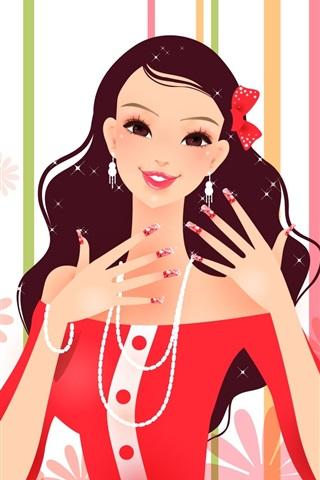 iPhone 배경 화면 멋진 드레스 패션 소녀 벡터