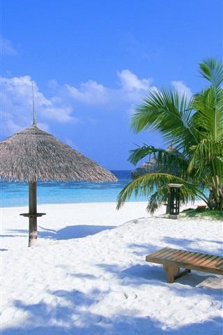 iPhone 배경 화면 휴일 해변 의자 및 관