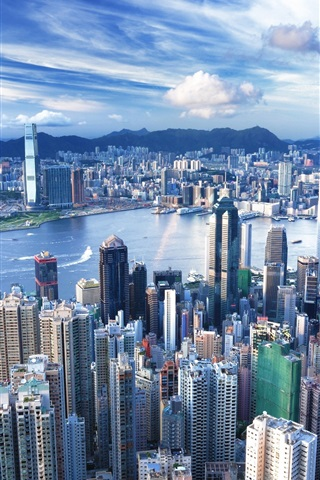 iPhone 배경 화면 홍콩 스카이 스크래퍼 대도시