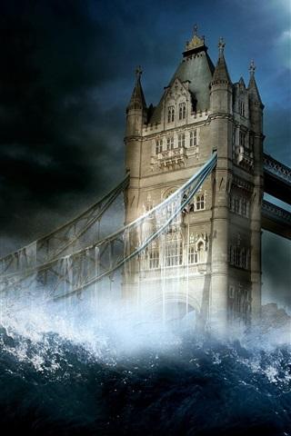 iPhone 배경 화면 물 창의적인 이미지 런던 타워 브릿지
