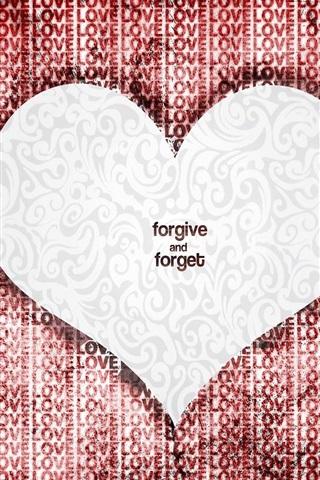 iPhone 배경 화면 사랑의 심장은 용서하고 잊어버려