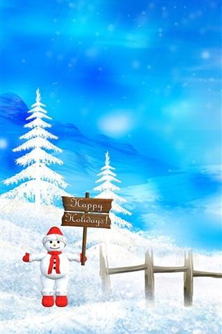 iPhone Papéis de Parede Feliz Natal cena da neve bela