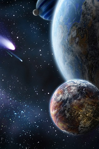 iPhone Wallpaper Planet and comet in space