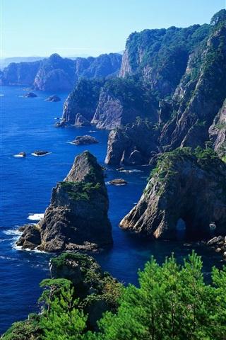 iPhone Обои Берег риф склонах горы океан
