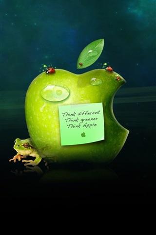 iPhone 배경 화면 다른 생각, 푸른 생각, 애플 생각