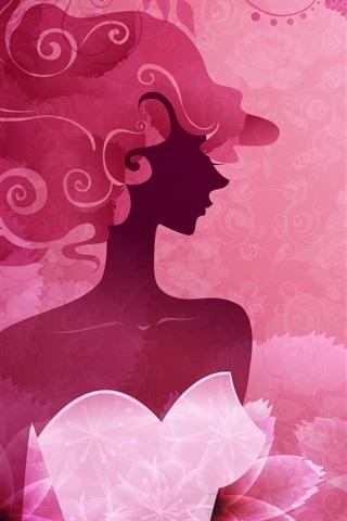 iPhone Fondos de pantalla Vector de mujer color rosa con estilo