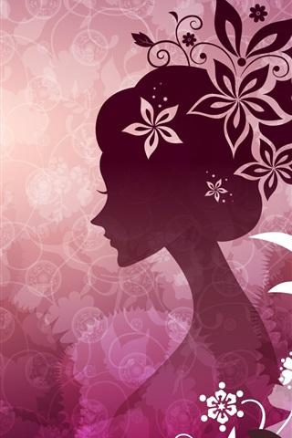 Vector Mulher Com Flores Cor De Rosa Tema 640x1136 Iphone 5 5s 5c