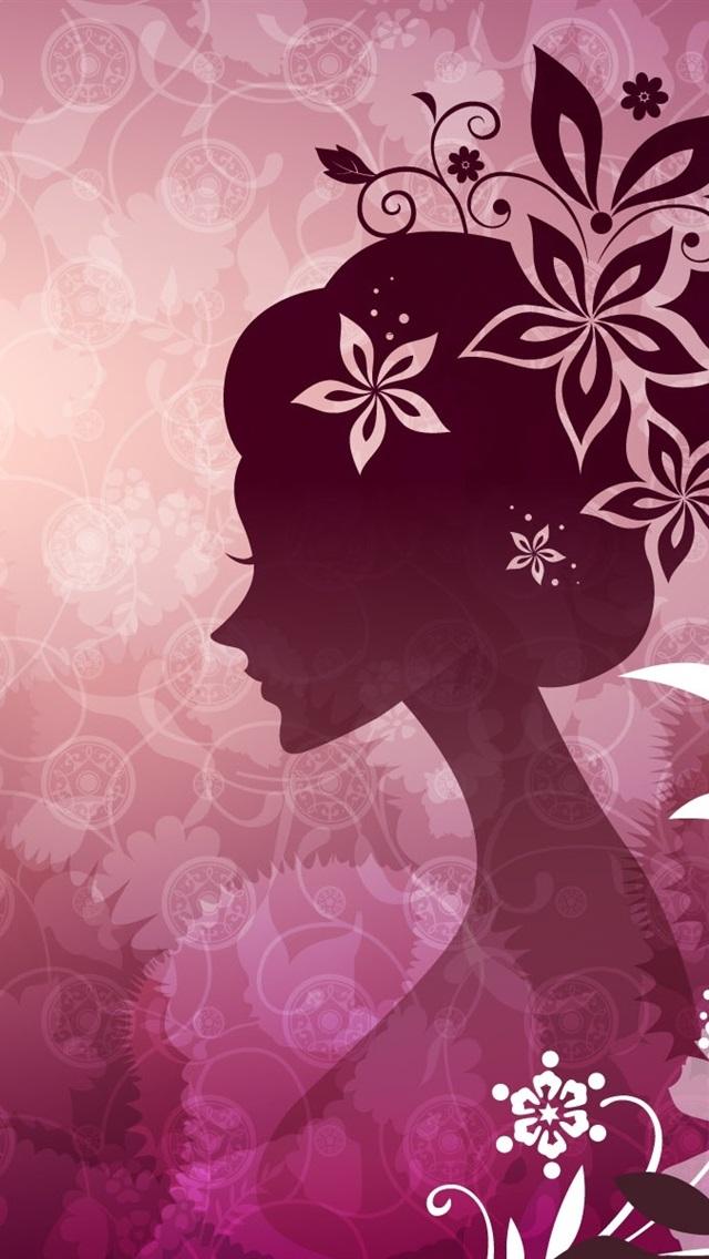 Vector De La Mujer Con El Tema De Flores De Color Rosa 640x1136