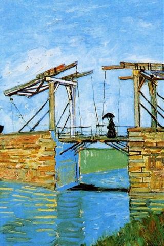 iPhone Wallpaper Vincent van Gogh: Langlois Bridge at Arles with Women Washing