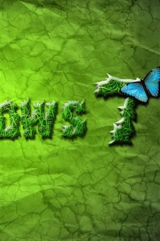 iPhone 배경 화면 윈도우 7 녹색과 나비