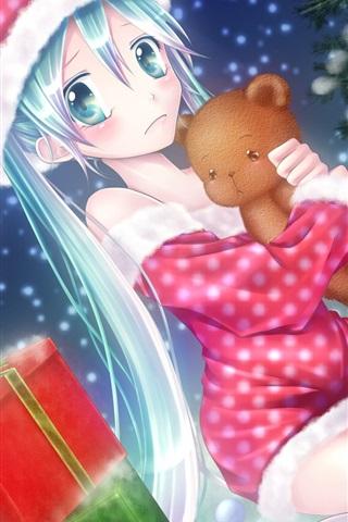 iPhone Wallpaper Anime girl on the Christmas eve