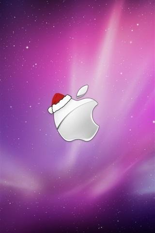 iPhone Papéis de Parede Maçã vestindo chapéus de Natal