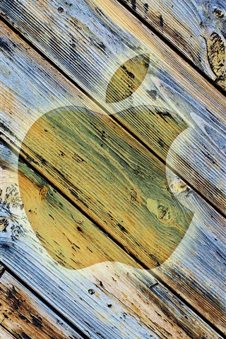 iPhone Papéis de Parede Maçã fundo de madeira