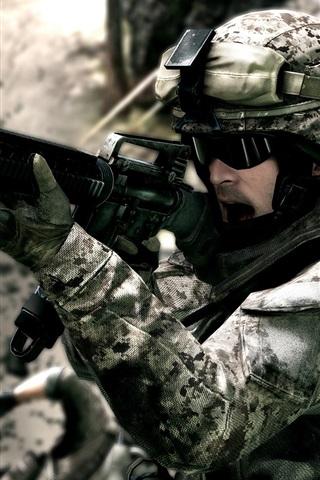 iPhone Wallpaper Battlefield 3 soldiers on the battlefield