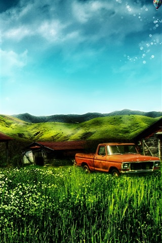iPhone Wallpaper Dream home house and truck