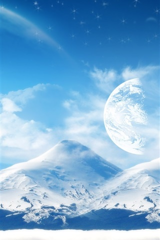 iPhone Wallpaper Dream world beautiful snow-capped mountains