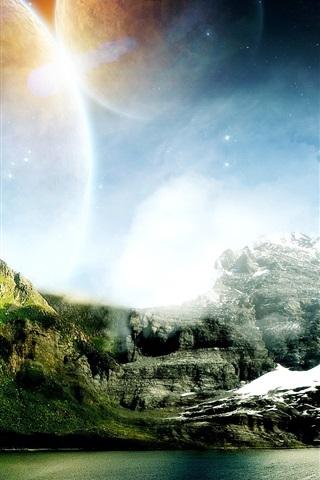 iPhone Papéis de Parede Mundo dos sonhos de montanhas e água