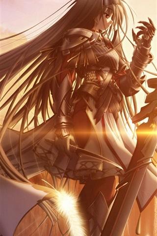 Golden Sun Anime Girl 640x1136 Iphone 5 5s 5c Se Wallpaper