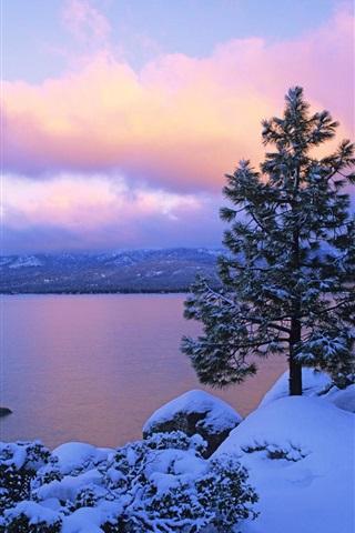 iPhone 배경 화면 겨울의 황혼에 호수