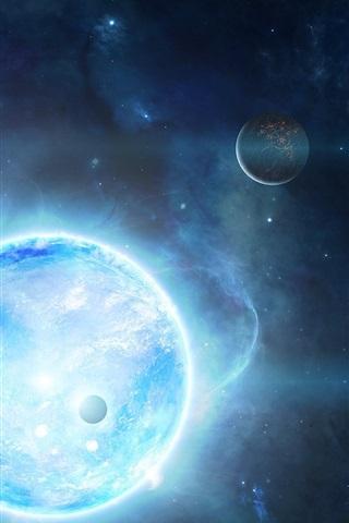 iPhone Wallpaper Satellite shining planet