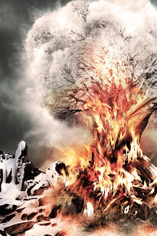 iPhone Wallpaper Snow tree fire
