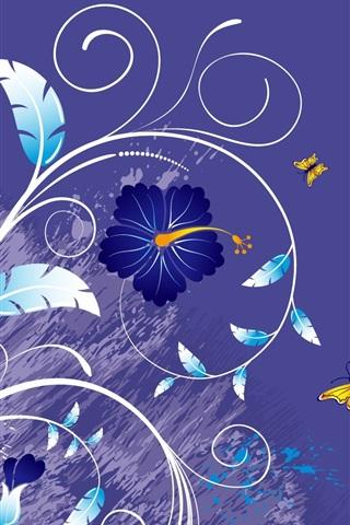 iPhone 배경 화면 꽃과 나비의 벡터 배경