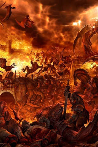 iPhone Wallpaper Battle dragons fire people and monsters