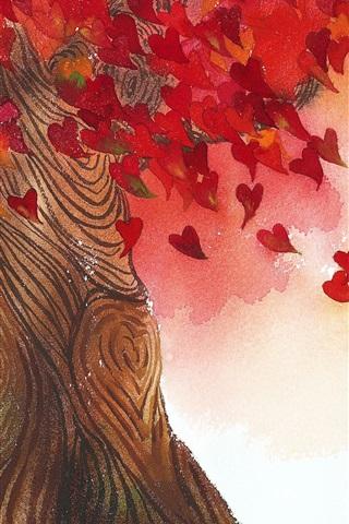 iPhone Wallpaper Love heart leaves tree