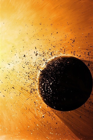 iPhone Wallpaper Planet explosion destruction