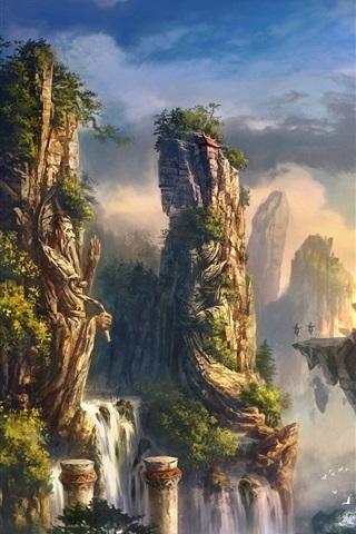 iPhone Wallpaper Art landscape mountain rock waterfall