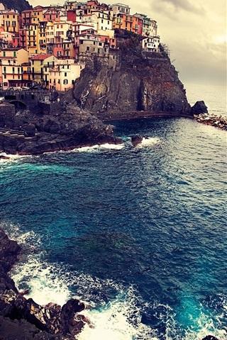 iPhone Обои Красивый ландшафт Манарола Италии моря