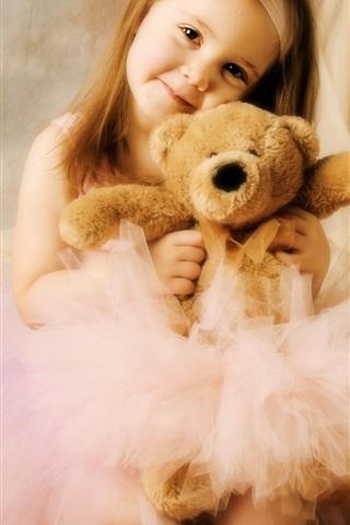 iPhone Papéis de Parede Cute menina com urso de brinquedo